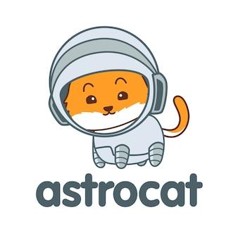 Cartoon astronaut cat mascot logo