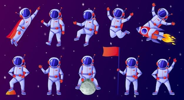 Мультяшный космонавт космонавт машет рукой, держащей флаг, танцует, сидя на луне, езда на ракете
