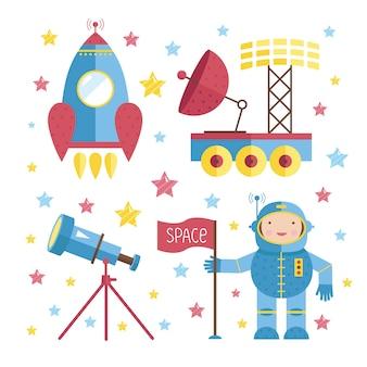 Cartoon astronaut elements pack