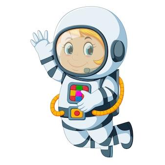Cartoon astronaut floating