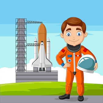 Cartoon astronaut holding helmet with spaceship ready to launch