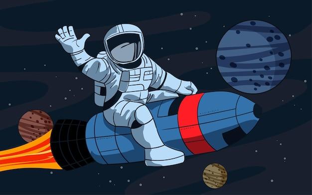 Мультяшный космонавт на ракете