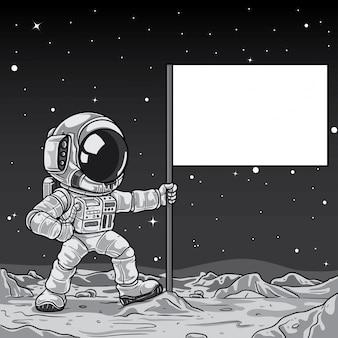 Cartoon astronaut raising flag on the moon