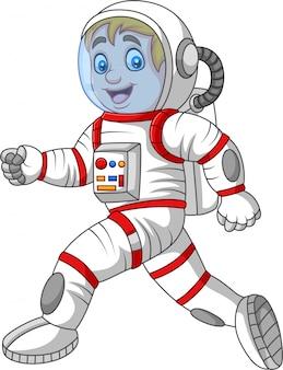 Cartoon astronaut walking isolated on white background