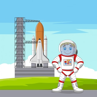 Cartoon astronaut with spaceship ready to launch