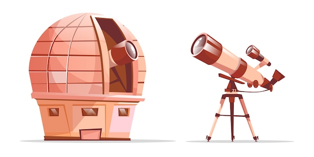 Cartoon astronomy discovery equipment set. observatory dome with radio telescope