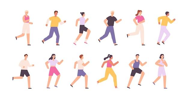 漫画のアスリートのキャラクターは、ジョギング、マラソンやレースを実行しています。スポーツイベントのランナー。健康的なライフスタイル活動。人々はベクトルセットを行使します