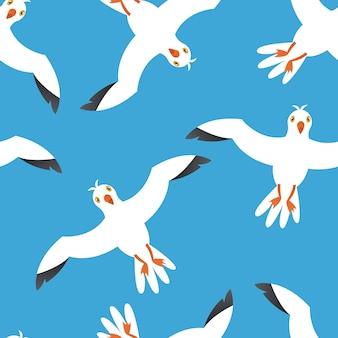Мультфильм атлантических морских птиц на синем фоне