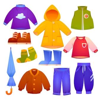 漫画の秋と冬の子供服コレクション
