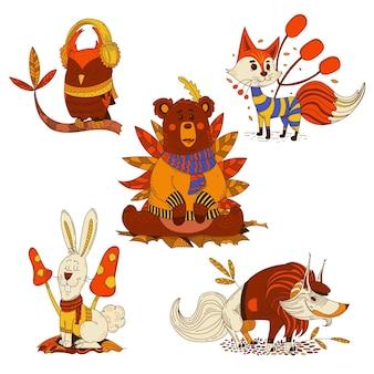 만화 가을 동물 컬렉션