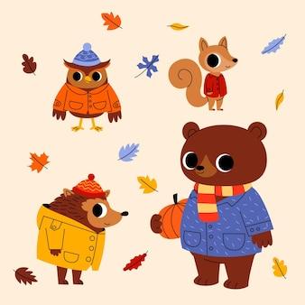 漫画の秋の動物コレクション