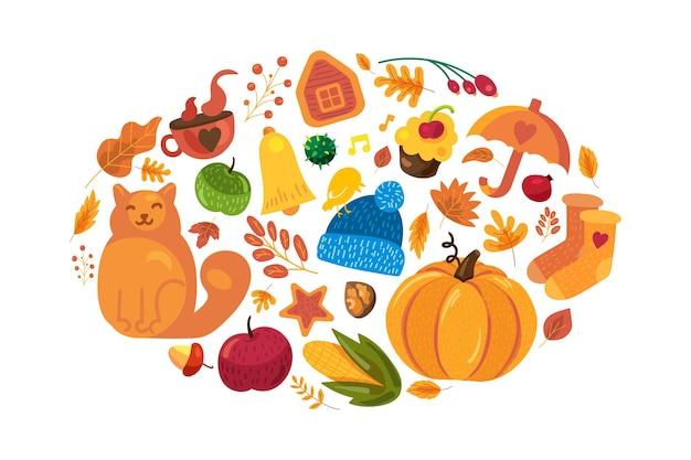 白の秋のシンボルと漫画の秋の背景。こんにちは秋のポスターテンプレート。かわいい秋の要素:カボチャ、黄色の葉、ポスターやバナーのデザインのための傘。ベクトルイラスト