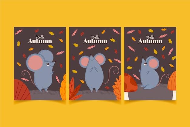Cartoon autumn cards collection
