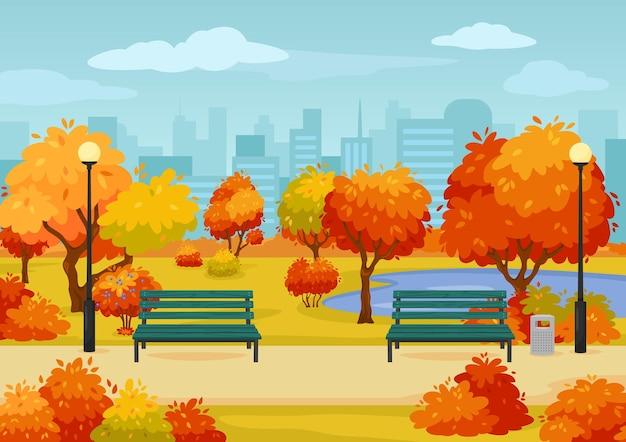 벤치 나무와 덤불이있는 만화 가을 도시 공원 거리 가을 시즌 야외 장면 벡터 이미지
