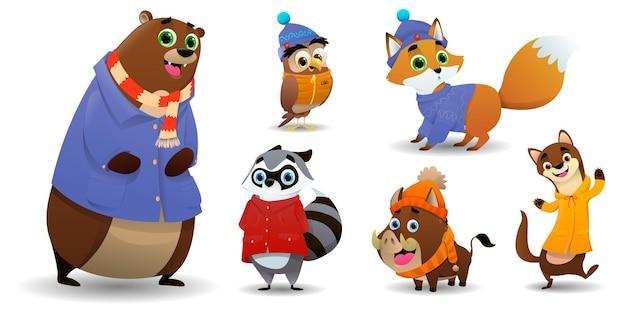 만화 가을 귀여운 동물 컬렉션