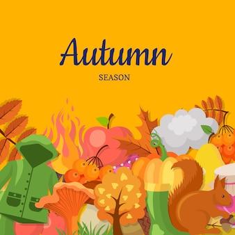 漫画の秋の要素と葉の背景