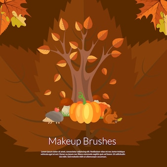 漫画の秋の要素と葉