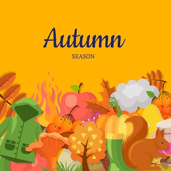 Cartoon autumn elements and leaves background
