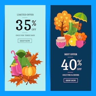 Cartoon autumn elements and leaves banner set