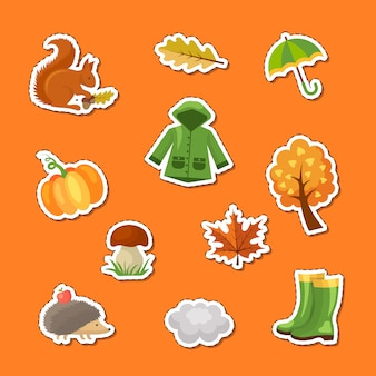 Cartoon autumn elements and leaves stickers set illustration
