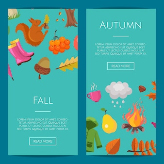 Cartoon autumn elements and leaves web banner set