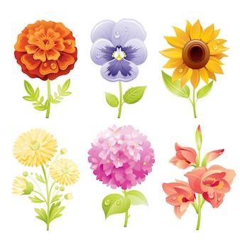 Cartoon autumn flowers icon set.