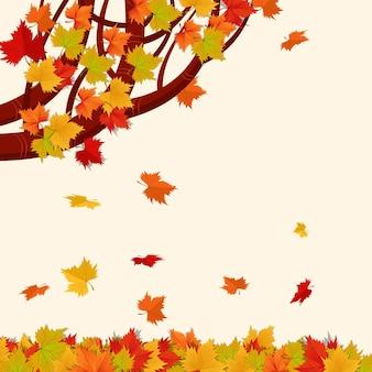 Мультфильм осенние листья фон