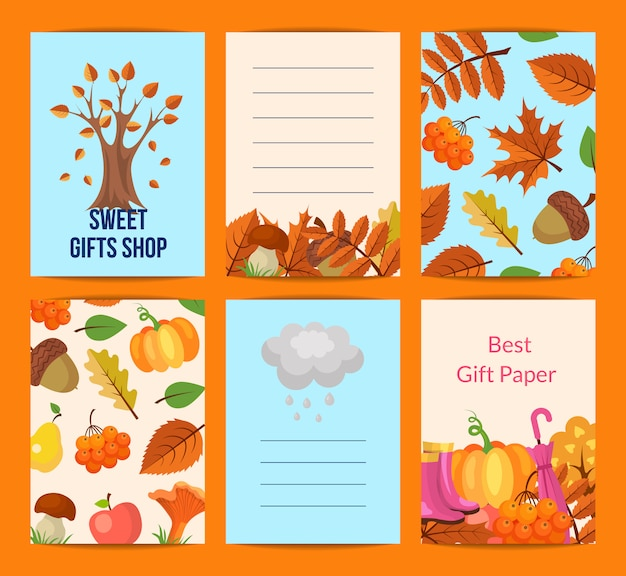Cartoon autumn leaves notes card set