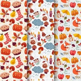 Cartoon autumn pattern collection