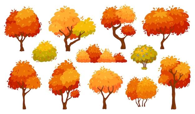 붉은 단풍과 잎 벡터 세트가 있는 만화 가을 나무와 덤불 노란색 숲 식물