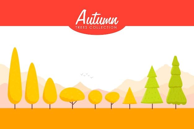 漫画の秋の木セット。低ポリベクトルイラスト。
