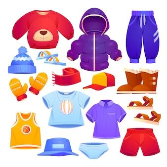 Collezione di abbigliamento per bambini autunno e inverno di cartoni animati