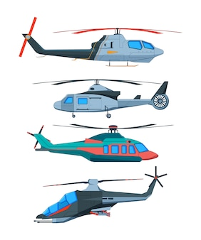 Cartoon avia transport. various helicopters isolated on white