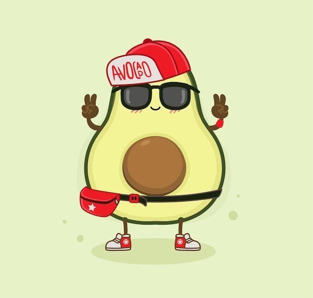 Мультяшный авокадо крутой мальчик