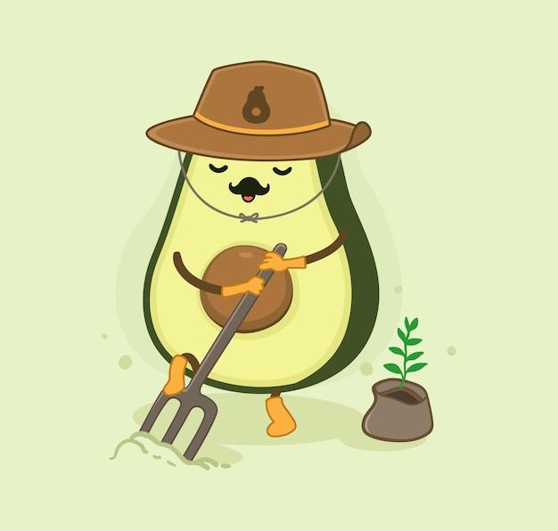 Cartoon avocado the farmer