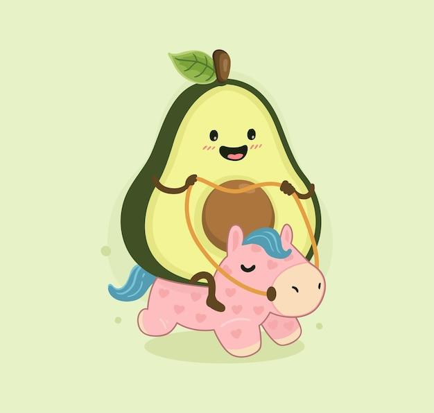 Cartoon avocado and horse