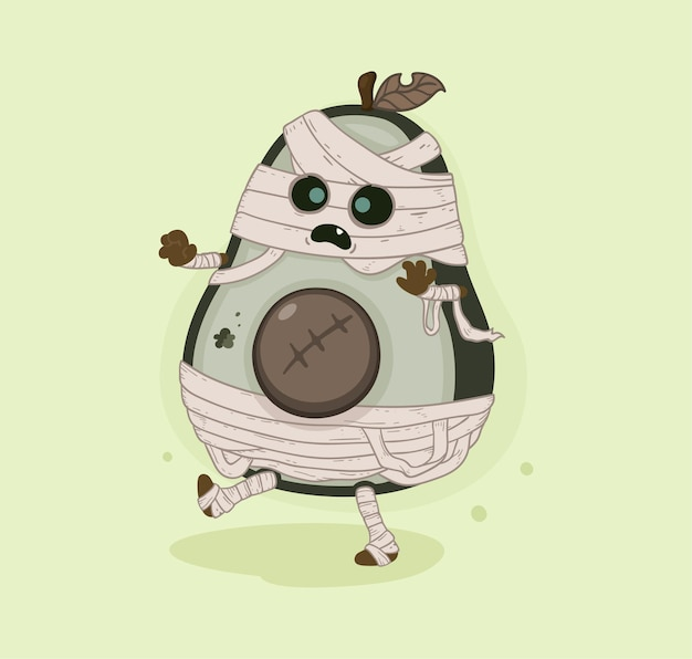 Cartoon avocado mummy