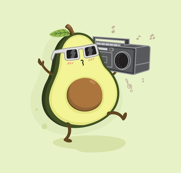Cartoon avocado and tape recorder music