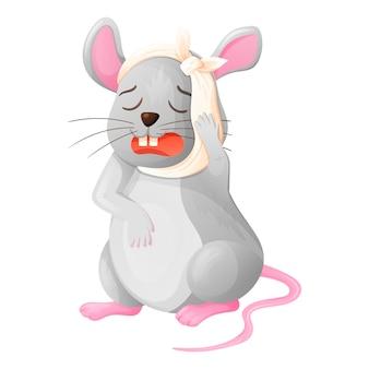 漫画の赤ちゃん動物のベクトル図です。頭に包帯を巻いた悲しそうな泣きネズミは、歯の痛みに苦しんでいます。