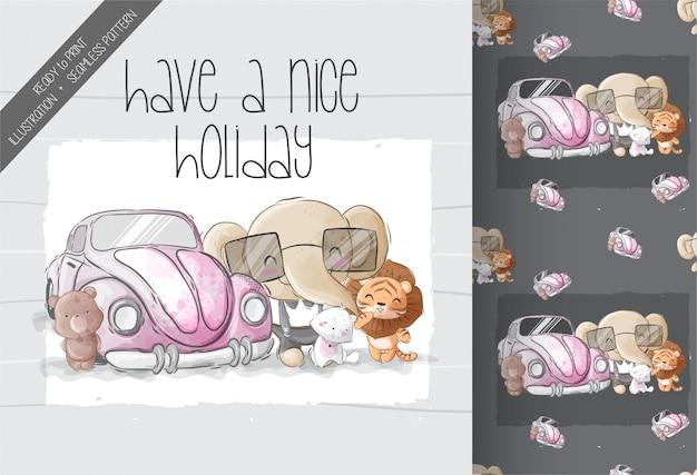 かわいい車のシームレスなパターンを持つ漫画の動物の赤ちゃん