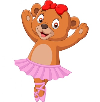 Cartoon baby bear ballet dancer