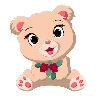 Cartoon baby bear holding a flowers