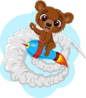 로켓을 타고 만화 아기 곰