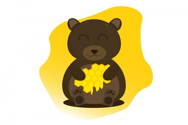 Cartoon baby bear sitting and eating honey