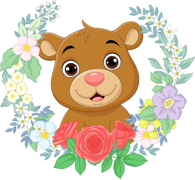 꽃 배경으로 만화 아기 곰