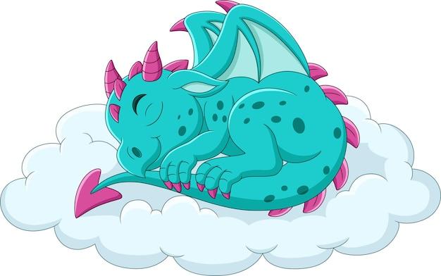 Cartoon baby blue dragon sleeping on a cloud