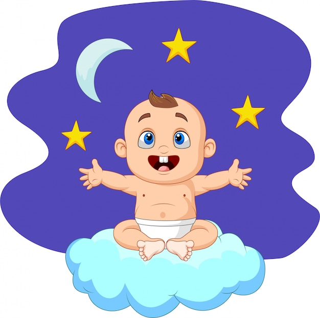Cartoon baby boy sitting on the cloud