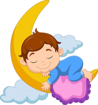 Cartoon baby boy sleeping on the moon
