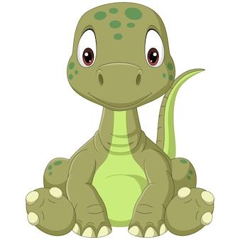 座っている漫画の赤ちゃんブロントサウルス恐竜