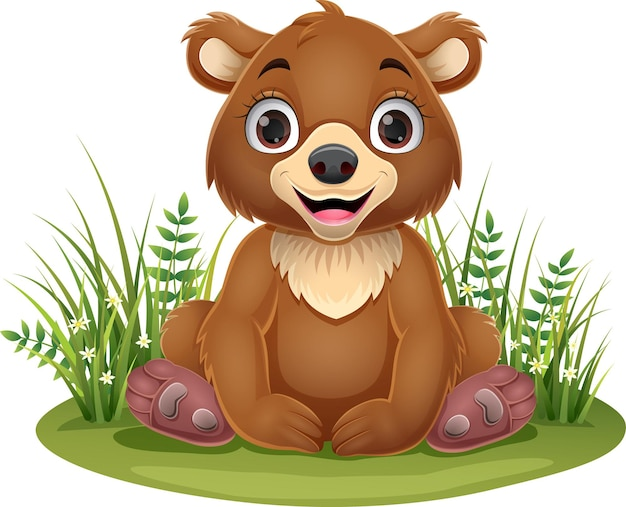 잔디에 앉아 만화 아기 갈색 곰